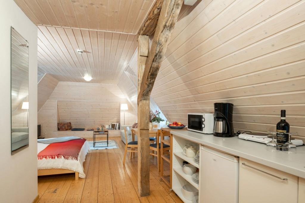 Appartment – Blick aus dem Küchen- in den Wohnbereich